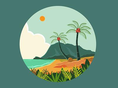 simple landscape beach scene pariaman island tropical coconut beach nature design cloud landscape vector mountain illustration inkscape