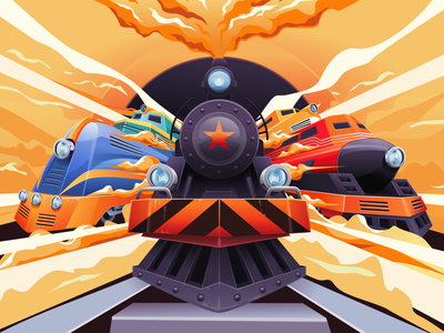 Train and friends steam old vintage smoke orange vector classic inkscape train