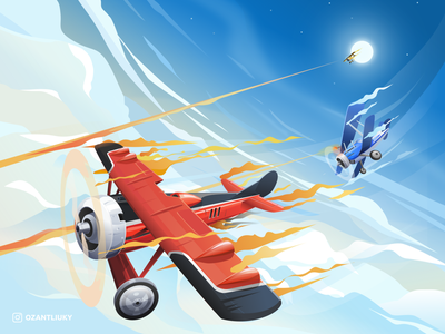 Hunt in the sky illustration cloud moon inkscape engine aircraft propeller ww1 airplane