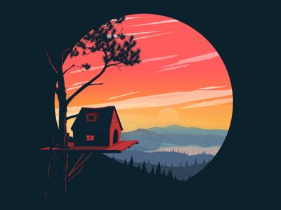 Tree House inkscape moon landscape hills lake house tree