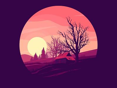 Senjakala forest hut moon inkscape illustration