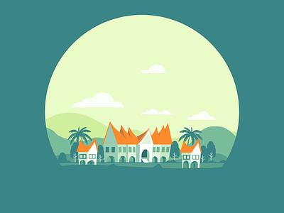 Traditional house of minangkabau rumah gadang design cloud landscape mountain house illustration inkscape