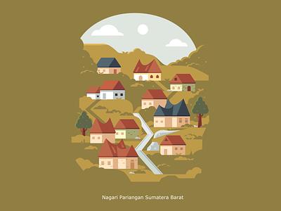 Pariangan Village in West Sumatera Indonesia minagkabau illustration vector moon mountain landscape house inkscape