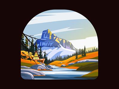 Mountain, Cabin, River vector cloud design inkscape house landscape illustration nature cabin mountain