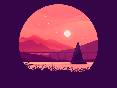 lonely ship drawing bridge grass ship moon vector vehicle illustration inkscape