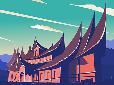 traditional house of minangkabau graphic design gimscape minangkabau landscape design cloud vector illustration house inkscape