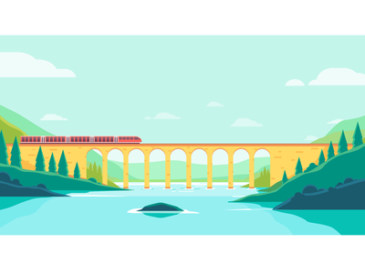 Vector illustration of trains crossing a river over the railroad industry industrial illustration high speed train header gorge forest flat design fast excursion europe destination communication business beautiful adventure speed railway mountain bridge