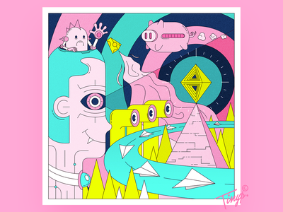 Insight eyes cheese 寐 eye robot pig flat illustration flatdesign cyan pink design yellow illustration