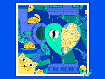 Fragile and Sensitive flat illustration photoshop hitech mechine cat heart yellow blue green flatdesign flat design illustration