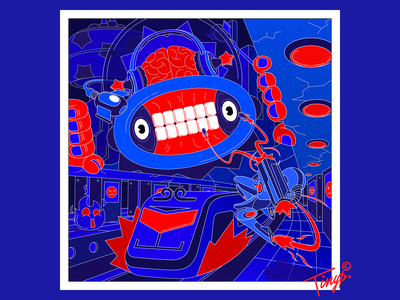 Invade photoshop mecha train metro spaceship city monster man flat illustration flatdesign red blue illustration