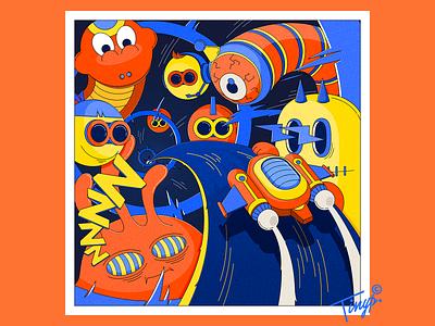 Watching You speed smile worm dinosaur monster color flat flatdesign photoshop orange lighting spaceship design yellow blue illustration