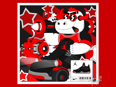 Run!Bull gun weapon white grey photoshop color vehicle sneaker star black red aj4 aj4 air jordan bull flatdesign flat illustration