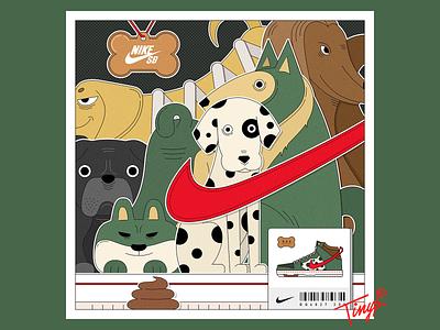 Dog Walker bulldog shiba inu nike spotty dog dunk sb dunk sneaker design color brown black red yellow photoshop green flat flat design illustraion dog