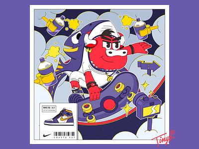 Skater cool printing aj airjordan sneaker nike cloud yellow black red purple laker shark skateboard camera flatdesign flat illustration bull