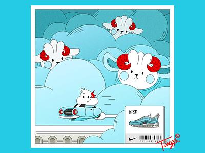 On the Cloud nike shoes air nike sneaker idea photoshop cyan white red lighting car sheep cloud illustration flat design flat