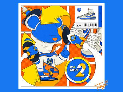 Be@rBrick shoe nike shoes magic sliding plate bear rocket sneaker nike dunk orange blue yellow flat design flat design illustration