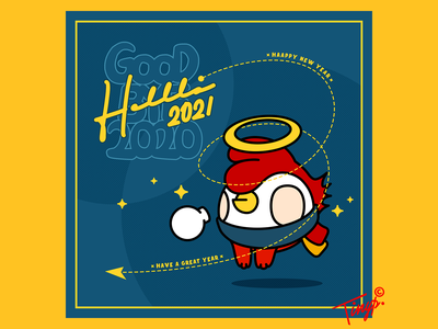 Happy New year 2020/2021 color photoshop idea newyear angell winter chickens flatdesign flat white red design blue yellow illustration