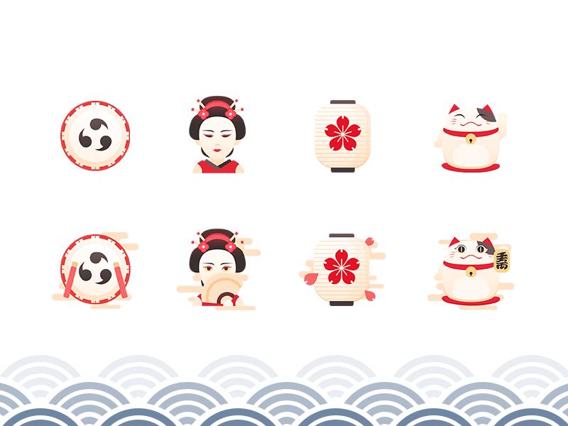 Iconset JAPAN geisha taiko lantern futurecat iconset icon red japanese janpan