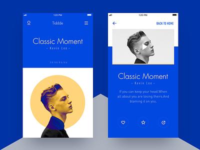 Blue tencent detail magazine vedio yellow blue ux ui app