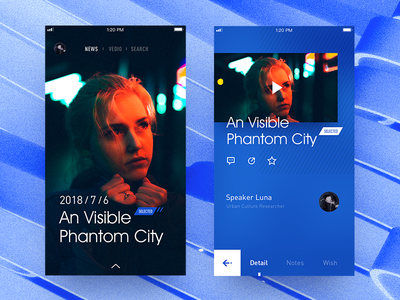 Vedio layout iphone concept detail poster vedio cool blue ux ui app