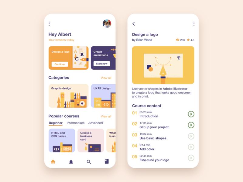 Learning app vector product design online teaching learning platform course app app design learning app app illustration ux