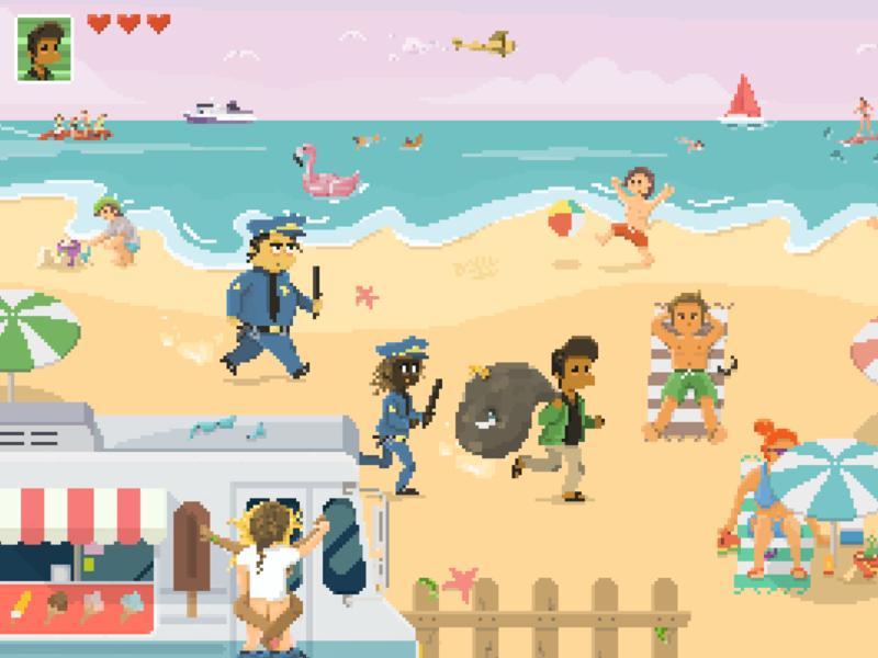 Game Design videogame pyxel edit beach summer characters illustration game animation pixel art pixel nintendo