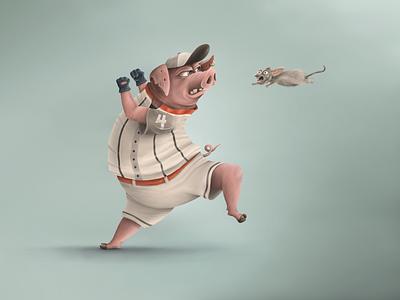 Pig playing baseball ipad pro mouse baseball pig procreate app procreate illustration