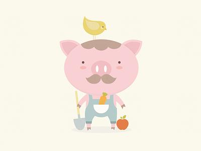 Bubbies children organic food farmer farm moustache carrot apple pig bird illustration