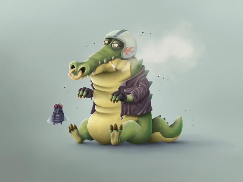 Crocodile playing piano