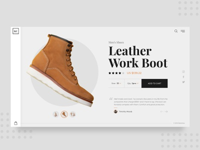 Daily UI #7 fashion modern template daily ui figma sketch photoshop adobexd uiux uidesign cart checkout ecommerce boot leather shoes shoe product website dailyui