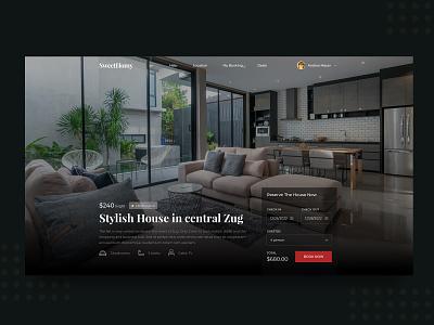 Daily UI #12 House/Hotel Rental Website clean ui psd sketch landing hero template houses host website room rental home house