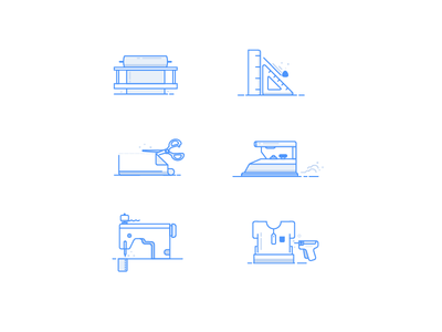 Garment manufacturing process icon blue clothing illustrator icon