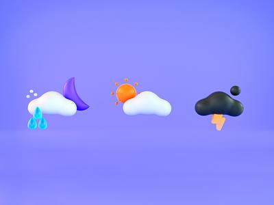 Weather 3D Icon ui logo design gif motion graphic illustration flat motion animation 2d iconanimation apple rain weather weathericon icon3d icondesign appdesign app icon