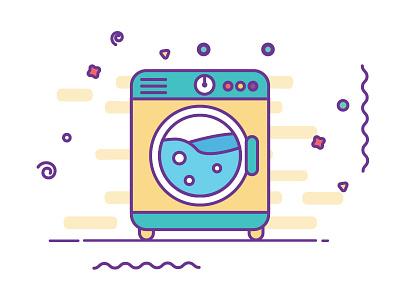 Washing Machine washing machine animation motion illustrator gif line color flat 2d