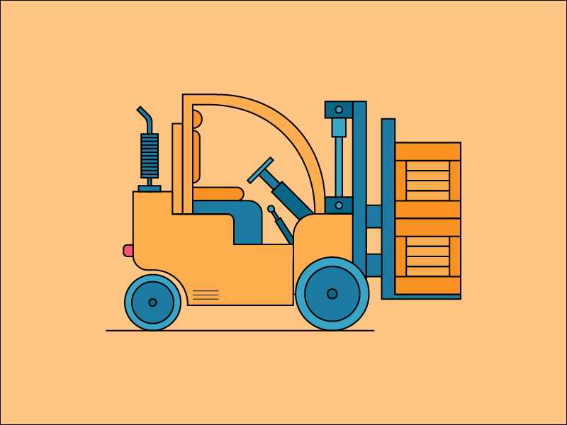 Forklift forklift cat icon house flat color art character man 2d