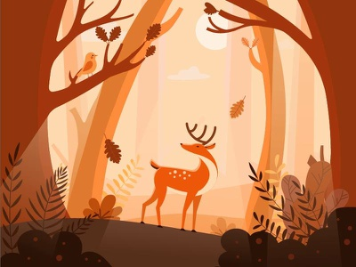 Friends in the forest flat design animator flatstyle motion graphic motion animation illustration 2d