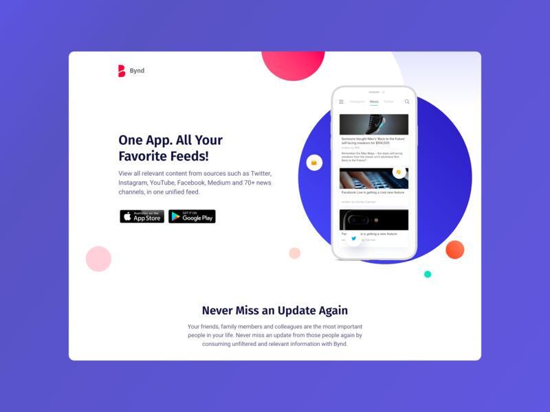 Bynd Webpage Re-Design app b2c socialmedia android ios webpage webpage design