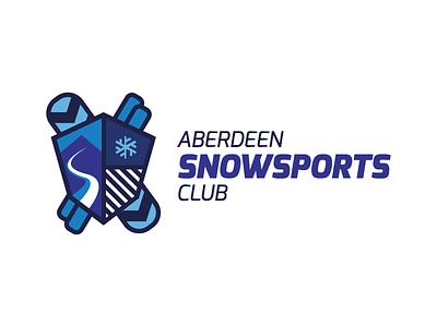 Aberdeen Snowsports Club Logo aberdeen snowsports snow sports club logo skiiing freestyle snowboarding shield snowboard skiis