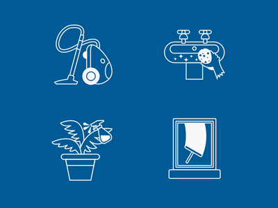 Cleaning Service Icons windows office cleaning plant sponge sink vacuum icons cleaning