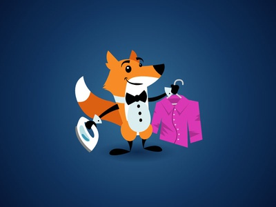 Fox Laundry Mascot bow tie shirt iron laundry ironing dry cleaning cleaning cartoon illustration fox
