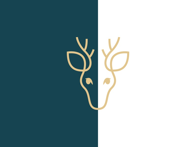 Deer Logo boutique antlers luxury gold line animal branding logo deer