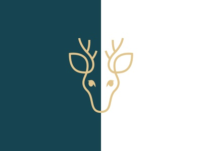 Deer Logo boutique antlers luxury gold line animal branding logo deer