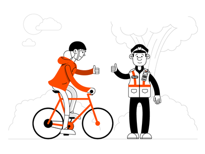 Cycling Animation character clean illustration startup black orange line art animation policeman police bicycle cycling