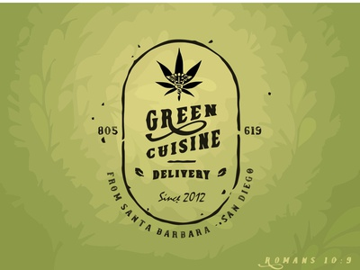 Green Cuisine Delivery typography logo branding illustration design