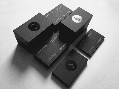 Studio St Louis Business Card business cards cards black black foil stamp metallic ink logo s iconic monogram minimal design