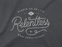 Be Relentless shirt typography seal pet logo lockup identity dog chewy cat branding badge
