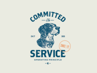 Committed to Service typography seal blue orange logo lockup identity dog chewy branding badge