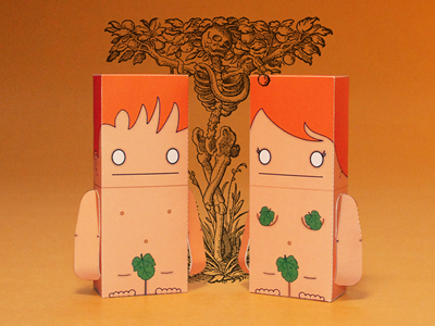 Let's Get Biblical, Adam and Eve adam eve paper papercraft illustrator vector paper toy