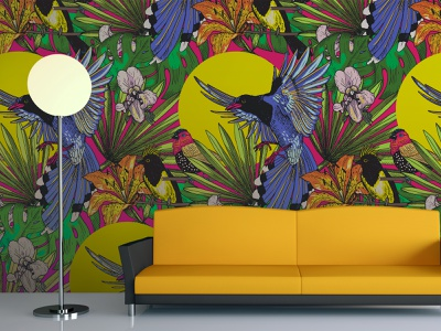 Seamless pattern with tropical birds summer vector tropical illustration birds
