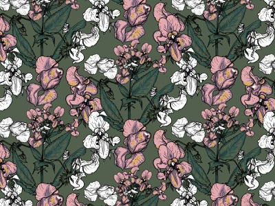 Seamless pattern with flowers line art pattern seamless wallpapper flowers liner vector illustration